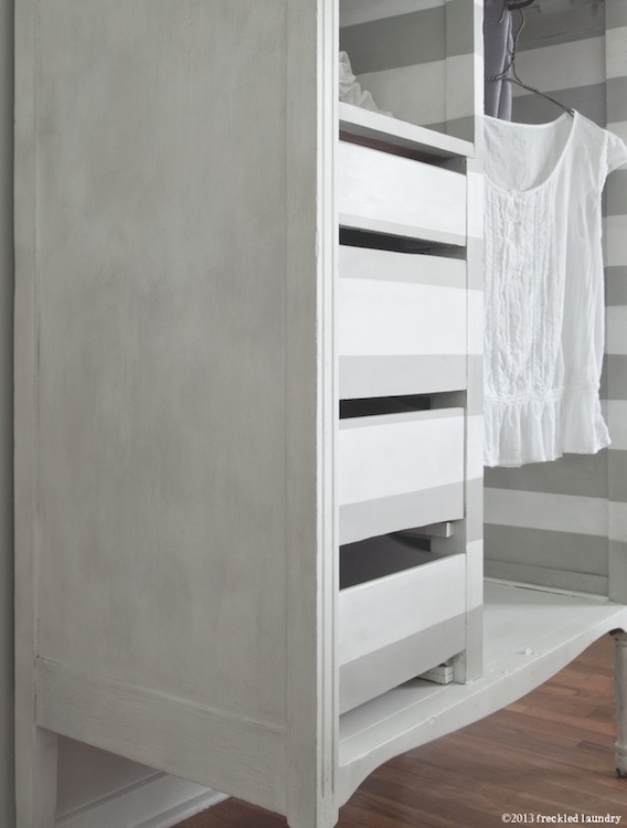 freckled laundry gray and white striped antique wardrobe