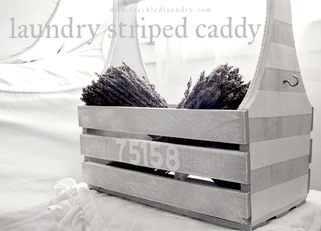 freckled laundry linen striped caddy