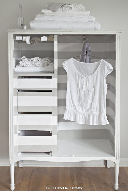 freckled laundry gray and white striped wardrobe Annie Sloan Chalk Paint