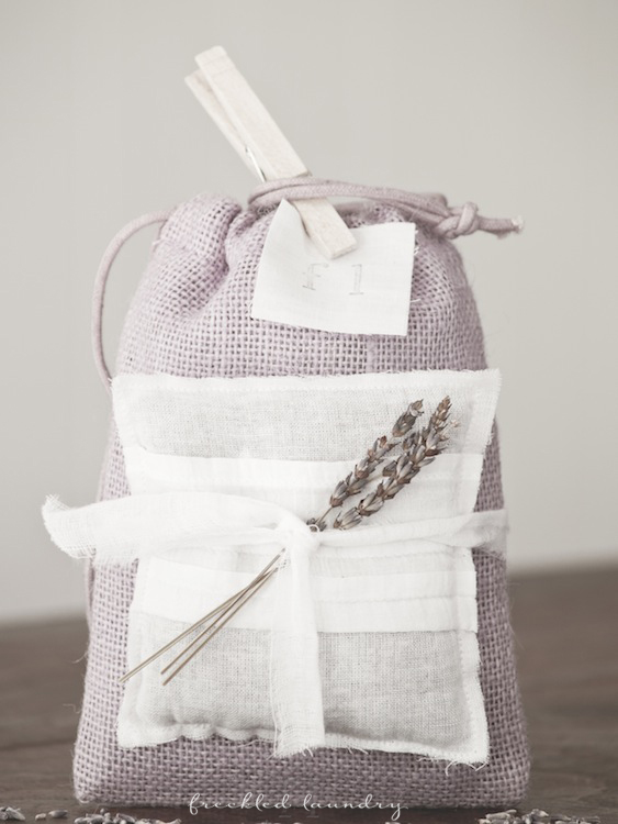 lavender burlap bag packing freckled laundry