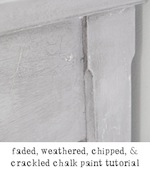 faded weathered chipped crackled chalk paint furniture painting tutorial freckled laundry